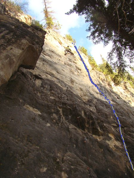 The Wiggers' Wall has the perfect duet of long, semi-difficult five tens guaranteed to inspire both love and hate. <br> <br> Carl is climbing Shaggy-2-Slope to the left. The right-most route is a bit harder and is known as Violent Vajay-J.
