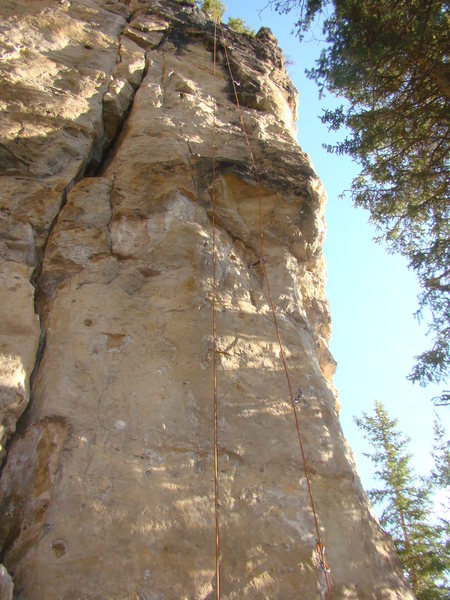 Technical climbing to huge pockets.<br> Hot Dawg Down A Hallway, 5.11c<br> The Dawg Pound. Slim Shady Pillar Area.<br> Shadowlands, Spearfish Canyon.<br> South Dakota.