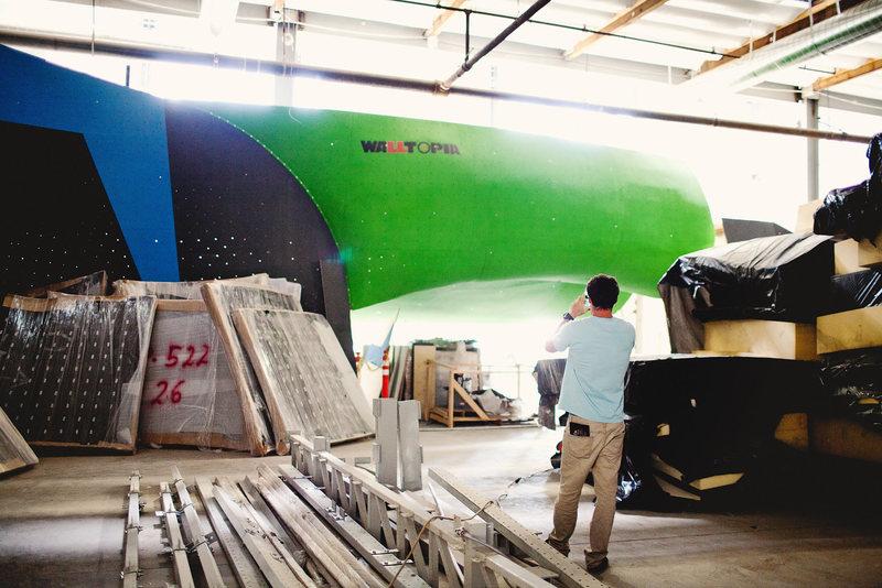 Bouldering tunnel under construction