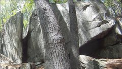 Rock Climbing Photo: Chimney Boulder close-up. Sign says 'Porcupine Hab...