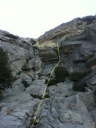 Rock Climbing Photo: Pass the first large roof on the right, in a chimn...