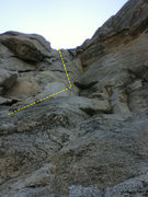 Rock Climbing Photo: Looking up from the ledge-y area above the first l...