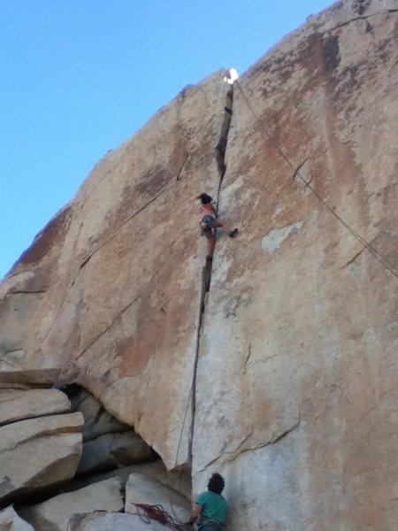 Unknown climber in crux.