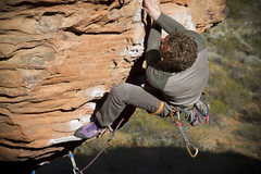 Rock Climbing Photo: Ben earning a redpoint on the crazy route Banana D...