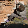 Ben earning a redpoint on the crazy route Banana Dance at the Turtle Wall - St. Geroge, UT