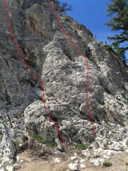I found five bolted routes at the palisades. This photo is of the far right portion of the crag. I think I drew the lines roughly in place of these routes.