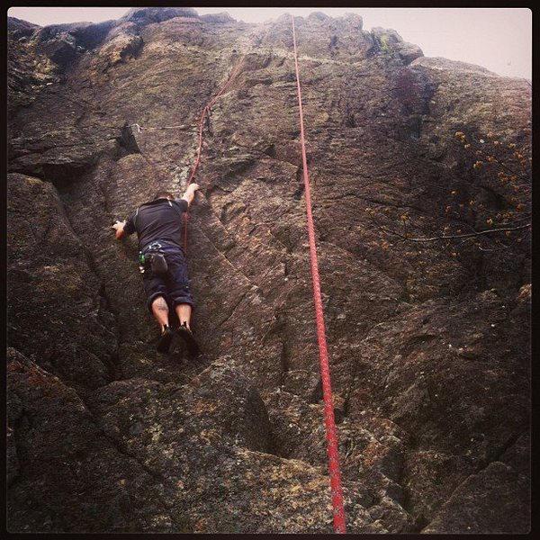 Rock Climbing Photo: Kyle climbing up the weakness on the left side of ...