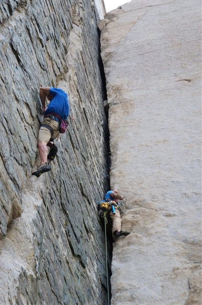 The climber on the left is gaining on the climber on Pratt's Crack