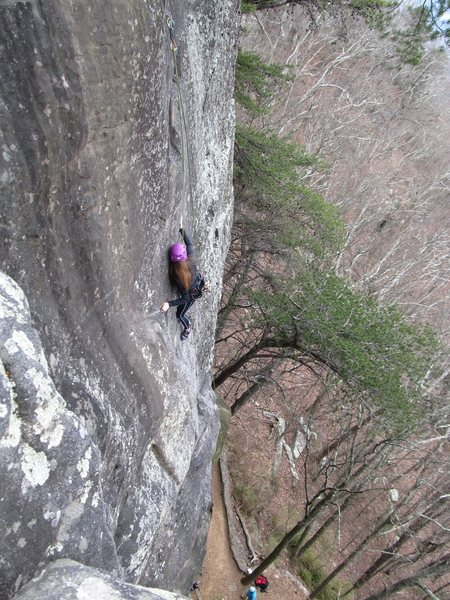 Amanda on her first ever outdoor climb, More Fun With Dick and Jane.