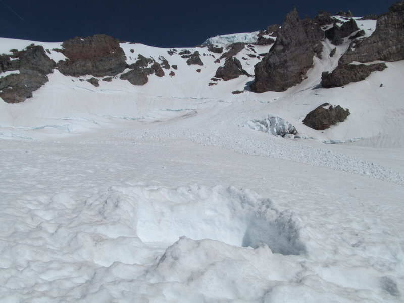 Oh my... Alpha angle! This camp was almost hit by serac debris from the Kautz Glacier at the base of the Finger and Wilson Head Wall. The Wilson Cleaver between 9,000ft and 9,800ft provides the best and safest camping.