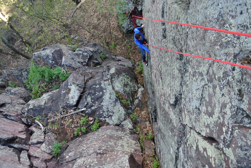 Jon J. on his first ascent of The Green Slime ever!