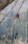 Rock Climbing Photo: Jordi at the crux of Chronic, just before he fell....