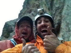 "Steve and I topping out ""Breezy"" on the Wind Tower in Eldo after an epic runout traverse."