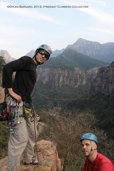 Rock Climbing Photo: RyderS and Tavis Barr stand atop Youyifeng/Rollkai...