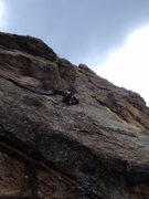 Rock Climbing Photo: Deb explores the crux section.