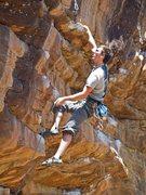 Rock Climbing Photo: Scott clipping the last perma-draw