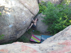 Rock Climbing Photo: Jake getting psyched for a big dyno!