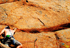 Rock Climbing Photo: Pullin' to the 3rd bolt