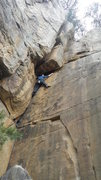 Rock Climbing Photo: Charles Cooper under the roof section on Smores. G...