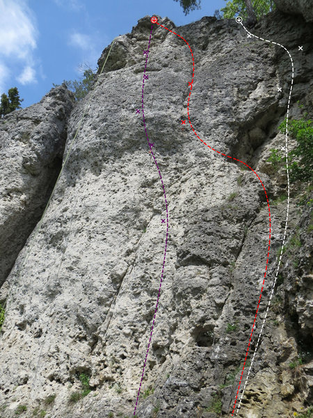 Rock Climbing Photo: Arrabiata in purple, NWW in red, and Engel/RK in w...