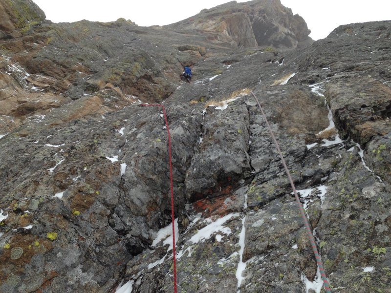 Rock Climbing Photo: Climbing the first pitch.  You can see the large r...