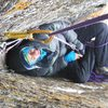 """The belay """"cave"""" between the second and third pitch."""