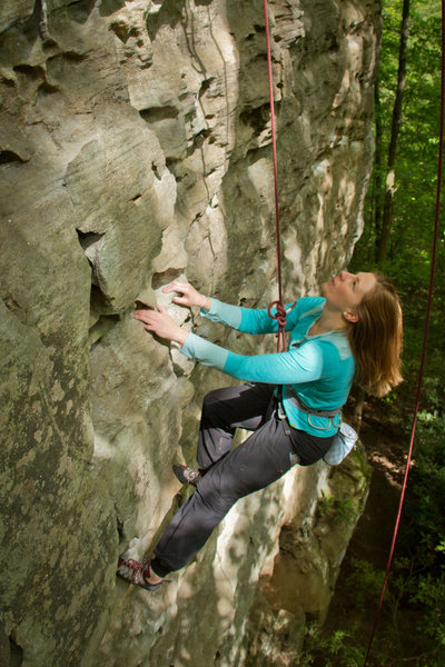 Jen on top rope for Miranda Rayne. May 2013.