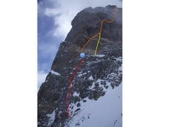 Rock Climbing Photo: Here's the route.  Red is the first pitch.  Orange...