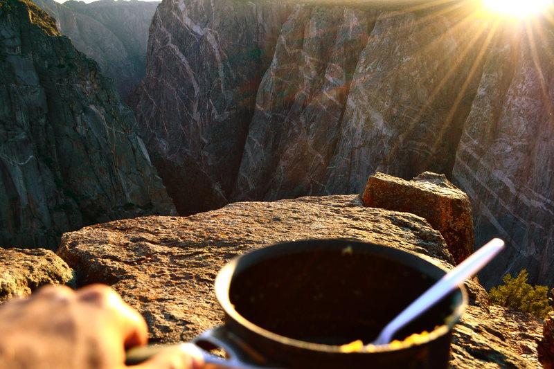 Rock Climbing Photo: Dinner on the north rim.