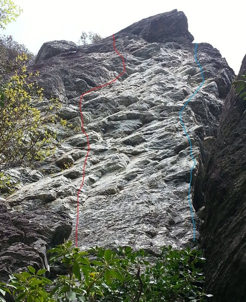 Rock Climbing Photo: Warm-up route in red, cool-down route in blue.
