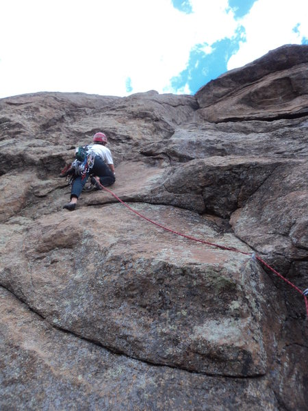 Deb just above the crux.