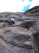 Rock Climbing Photo: Deb just above the crux.
