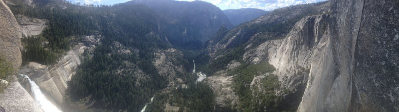 Panorama at the Pitch 8 Ledge. Left is Nevada Falls.