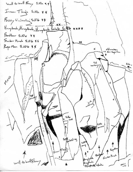Topos of seven routes 150' right of the cave, including Wall to Wall Fanny (10a) and Sucker Punch (11b). (Image from RCNW.net.)