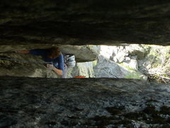 Rock Climbing Photo: Looking down through the squeeze at the fist secti...