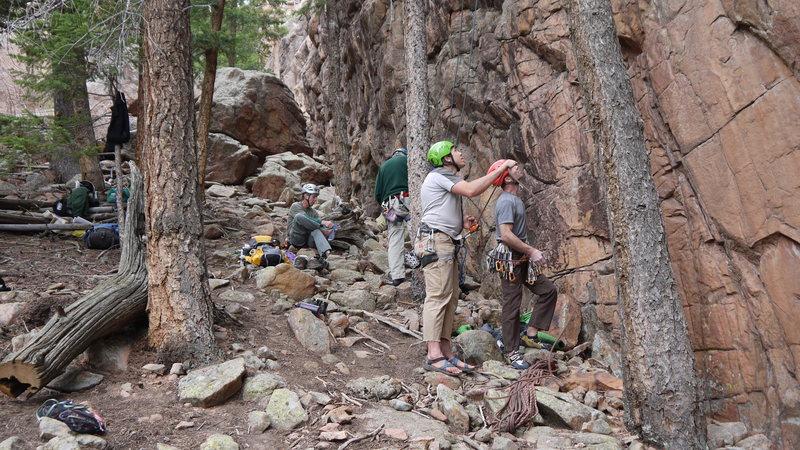 Opening day, Tan Corridor, unknown climbers.