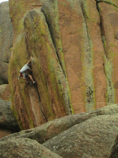 Rock Climbing Photo: Working my way up Quiver and Quill as seen from Tu...