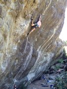 Rock Climbing Photo: Me, redpointing. This is the drop-knee before ente...