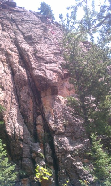 Rock Climbing Photo: Rob rapping the route after the second ascent.