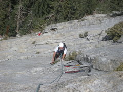 Mike Margala on pitch 3, just before undercling on overlap to dead mountain mahogony.