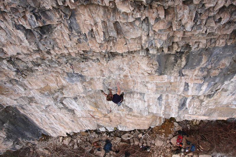 Rock Climbing Photo: Erik on steep, limey stone.