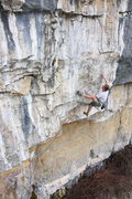 Rock Climbing Photo: Leaving the slopers on the headwall.   Photo by Er...
