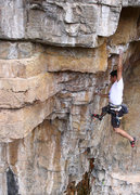 Rock Climbing Photo: Marcus sticking the long toss before the roof.  Ph...