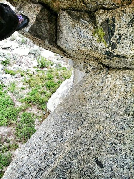 Rock Climbing Photo: Looking down pitch 1 after crux.