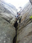 Rock Climbing Photo: The off width wasn't so bad and protected halfway ...