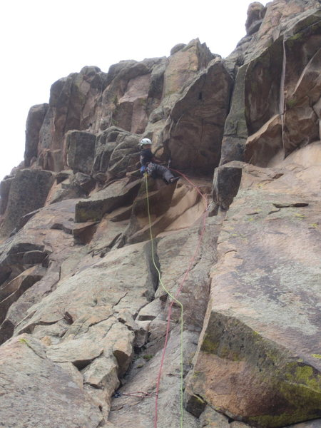 Rock Climbing Photo: Lisa on the crux of P1 during the FA.