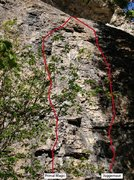 Rock Climbing Photo: Primal Magic on the Left line  The Crux after the ...