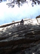 Rock Climbing Photo: Deb in the upper crux.