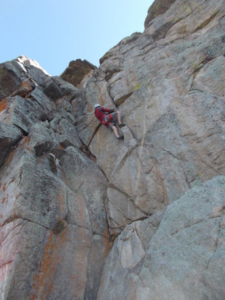 Rock Climbing Photo: Mike Keegan on Harmen's Way on a cold May morning.