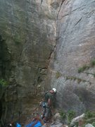 Rock Climbing Photo: The start of Credibility Gap is the crack on the w...